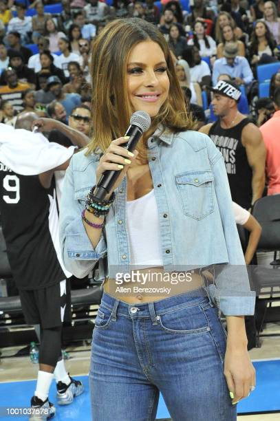 Maria Menounos attends Monster Energy Outbreak $50K Charity Challenge celebrity basketball game at UCLA on July 17 2018 in Los Angeles California