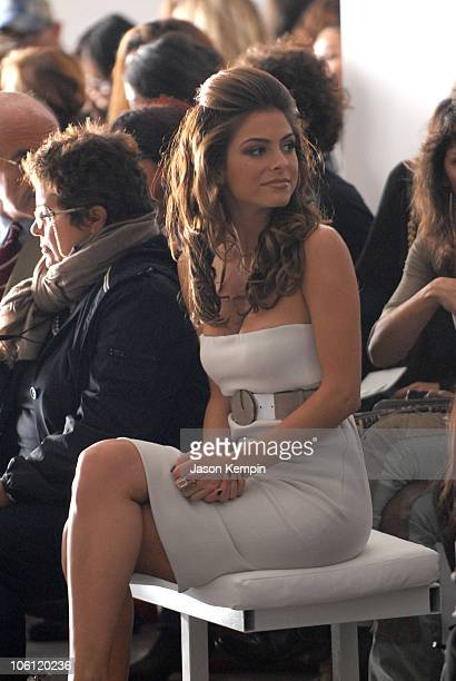 Maria Menounos during Olympus Fashion Week Spring 2007 Calvin Klein Front Row and Backstage at 205 W 39th Street in New York City New York United...