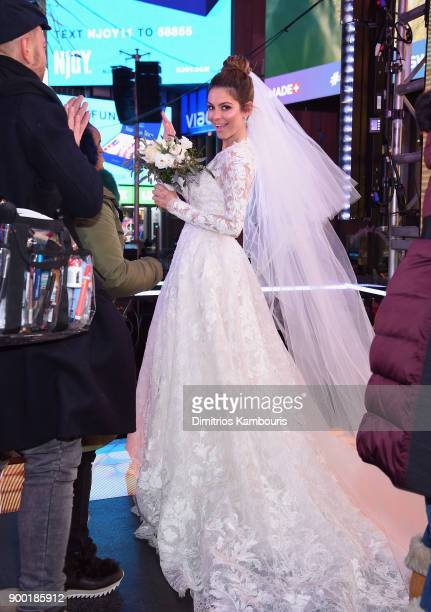 Maria Menounos holds her wedding ceremony during Maria Menounos and Steve Harvey Live from Times Square at Marriott Marquis Times Square on December...