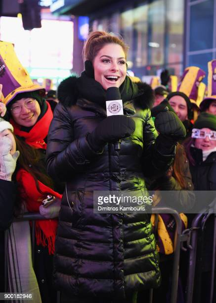 Maria Menounos hosts Maria Menounos and Steve Harvey Live from Times Square at Marriott Marquis Times Square on December 31 2017 in New York City