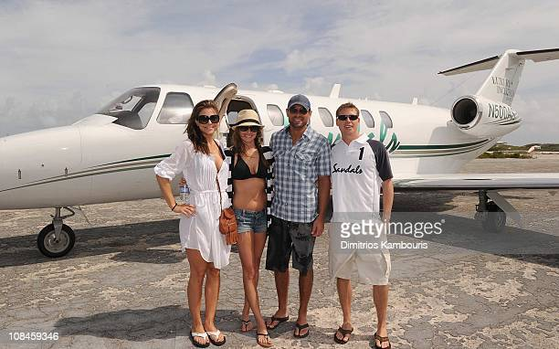 Maria Menounos Molly Mesnick Jason Mesnick and Adam Stewart CEO of Sandals and Beaches Resorts attend the Sandals Emerald Bay celebrity golf...