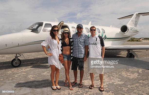 GREAT EXUMA ISLAND BAHAMAS APRIL 10 Maria Menounos Molly Mesnick Jason Mesnick and Adam Stewart CEO of Sandals and Beaches Resorts attend the Sandals...