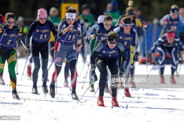 Maria Moe Grevsgaard of the University of Colorado leads the pack during the mass start of the Women's 15k classic as part of the Men's and Women's...