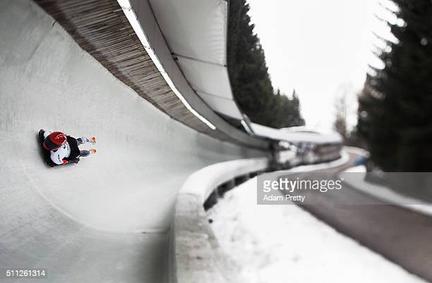 Maria Montejano of Spain completes her second run of the Women's Skeleton during Day 5 of the IBSF World Championships 2016 at Olympiabobbahn Igls on...