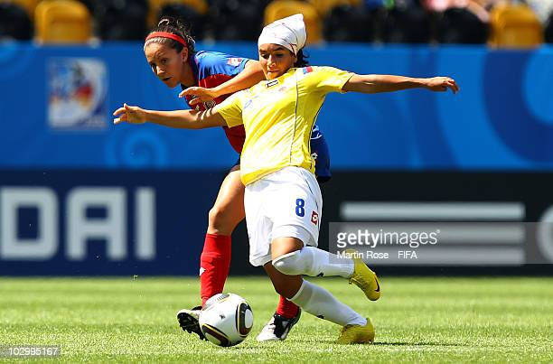 Maria Moreira of Costa Rica and Paola Sanchez of Colombia compete for the ball during the 2010 FIFA Women's World Cup Group C match between Costa...