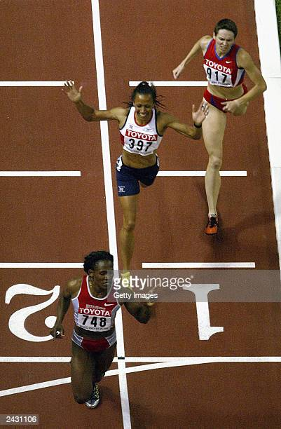 Maria Mutola of Mozambique wins the women's 800 metres ahead of Kelly Holmes of Britain and Natalya Khrushchelyova of Russia during the 9th World...