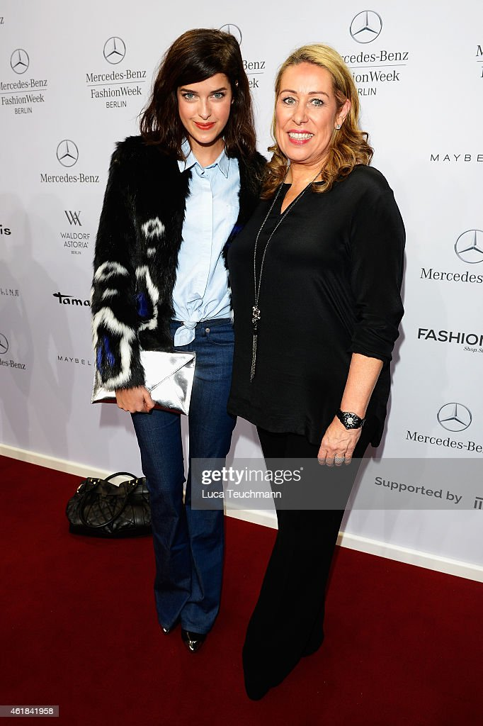 Maria Nasemann (L) and Martina Cruse attends the Riani show during the Mercedes-Benz Fashion Week Berlin Autumn/Winter 2015/16 at Brandenburg Gate on January 20, 2015 in Berlin, Germany.