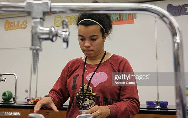 Maria Navarro is in Brockton High School's International Baccalaureate Program She was in her biology class working on a topic with fellow students