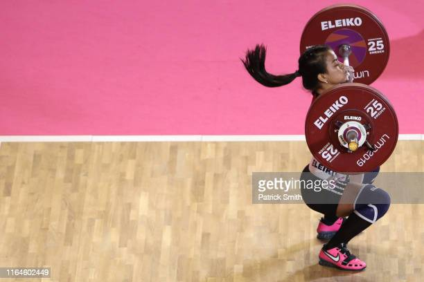 Maria Navarro of Nicaragua lifts during the Women's Weightlifting 49kg Group A on Day 1 of the Lima 2019 Pan Am Games at Mariscal Cáceres Coliseum of...