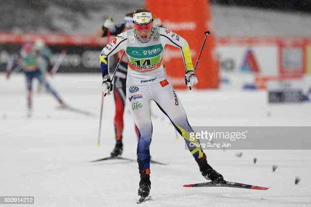 Maria Nordstroem of Sweden compete in the Ladies 6X14km Team Sprint Final during the FIS Nordic Combined World Cup presented by Viessmann Test Event...