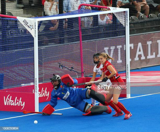 Maria of Spain GUTIERREZ Rocio of Spain and WEYNS AnneSophie of Belgium during FIH Hockey Women's World Cup 2018 Day Nine match CrossOver game 26...