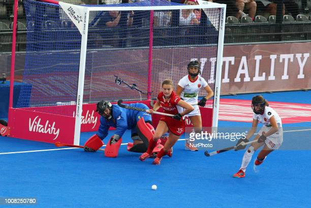 Maria of Spain WEYNS AnneSophie of Belgium and JIMENEZ Lucia of Spain during FIH Hockey Women's World Cup 2018 Day Nine match CrossOver game 26...