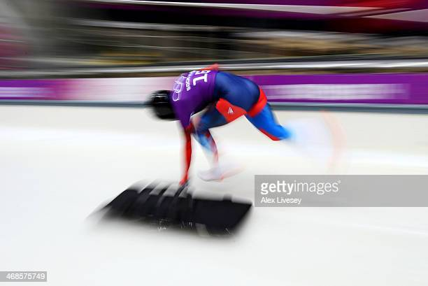 Maria Orlova of Russia makes a run during a Women's Skeleton training session on Day 4 of the Sochi 2014 Winter Olympics at the Sanki Sliding Center...