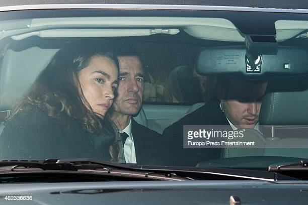 Maria Palacios Alessandro Lequio and Alex Lequio attend the funeral service for Princess Sandra Torlonia grand daughter of King Alfonso XIII of Spain...