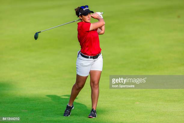 Maria Parra plays a fairway shot on the 9th hole during the second round of the Canadian Pacific Women's Open on August 25 2017 at The Ottawa Hunt...