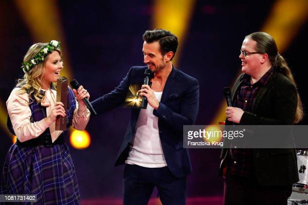 Maria Patricia Kelly Florian Silbereisen and Angelo Kelly during the television show 'Schlagerchampions Das grosse Fest der Besten' at Velodrom on...