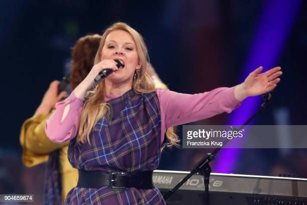 Maria Patricia Kelly performs during the 'Schlagerchampions Das grosse Fest der Besten' TV Show at Velodrom on January 13 2018 in Berlin Germany