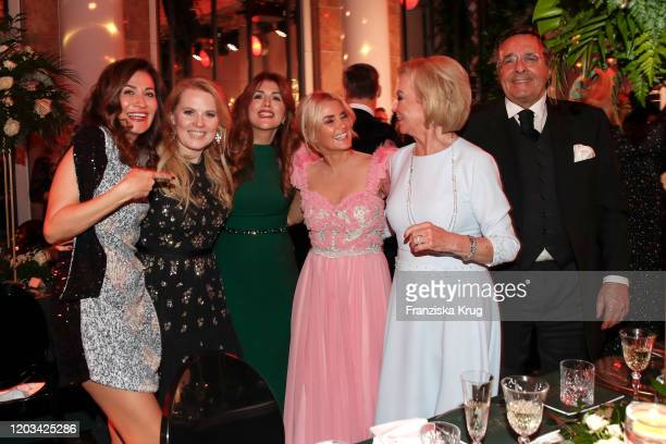 Maria Patricia Kelly Sedef Ayguen Jennifer Knaeble Liz Mohn Mario Ohoven and s guest during the Titanic United Hearts at Titanic Hotel on February 25...