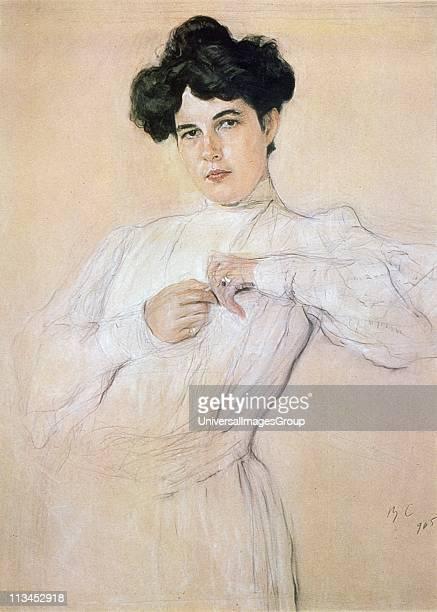 Maria Pavlovna Botkina' 1905 Pencil chalk sanguine on paper Portrait by Valentin Serov Russian painter Threequarter length portrait of darkhaired...