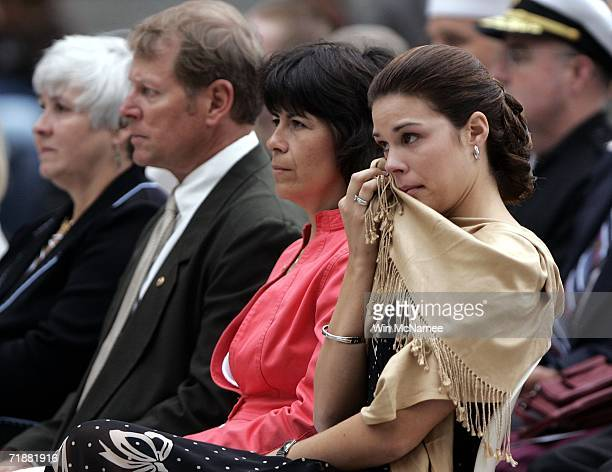 Maria Paz Leveque wife of Navy Seal Danny Dietz wipes away a tear during a ceremony posthumously awarding Dietz the Navy Cross September 13 2006 in...