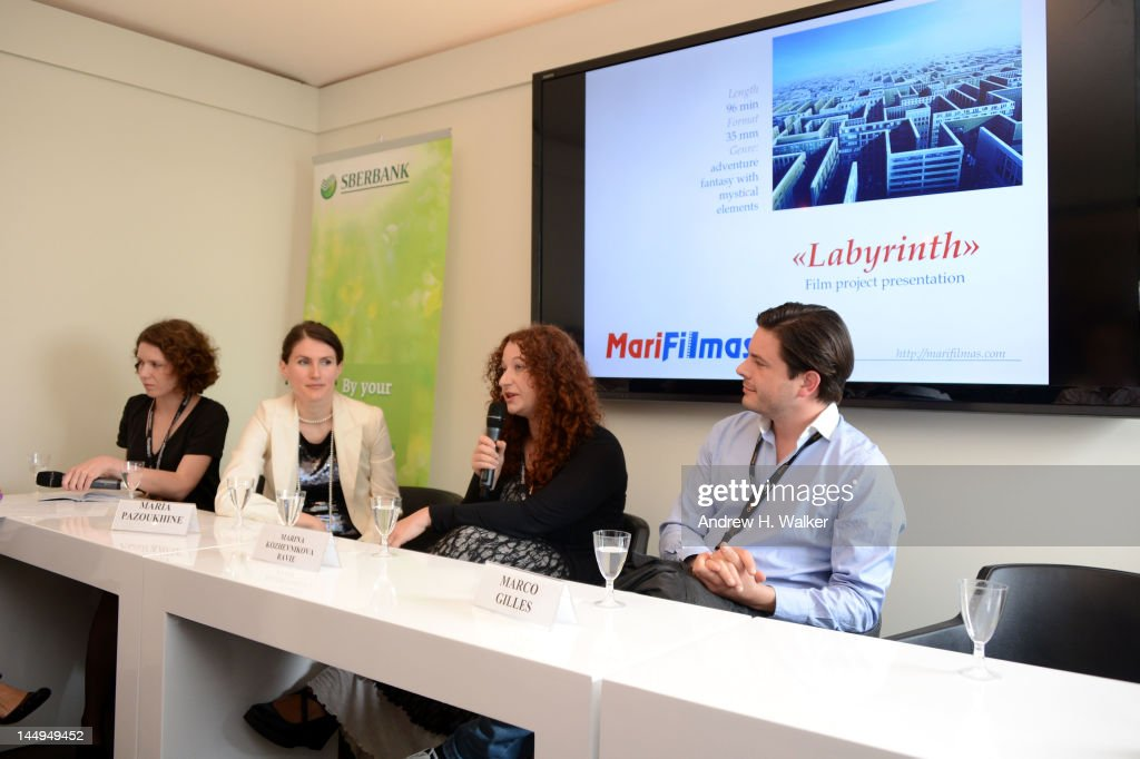 Maria Pazoukhine, Marina Kozhevnikova Ravie and Marco Gilles attends the Russian Film Panel during the 65th Annual Cannes Film Festival at the Russian Pavillion on May 21, 2012 in Cannes, France.