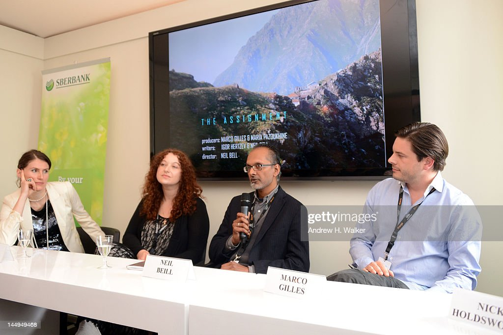 Maria Pazoukhine, Marina Kozhevnikova Ravie, Neil Beill and Marco Gilles attends the Russian Film Panel during the 65th Annual Cannes Film Festival at the Russian Pavillion on May 21, 2012 in Cannes, France.