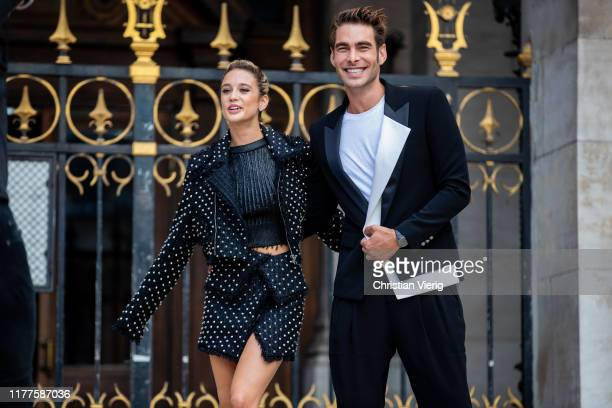 Maria Pedraza and Jon Kortajarena seen outside Balmain during Paris Fashion Week Womenswear Spring Summer 2020 on September 27 2019 in Paris France