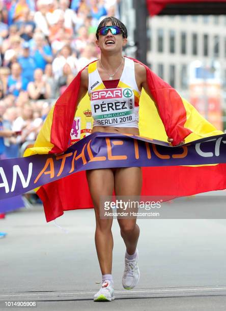 Maria Perez of Spain celebrates winning the Gold Medal in the Women's 20km Race Walk during day five of the 24th European Athletics Championships on...
