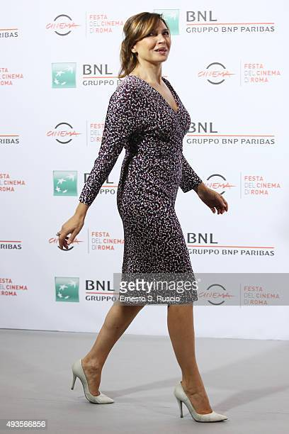 Maria Pia Calzone attends a photocall for 'Dobbiamo Parlare' during the 10th Rome Film Fest at Auditorium Parco Della Musica on October 21 2015 in...