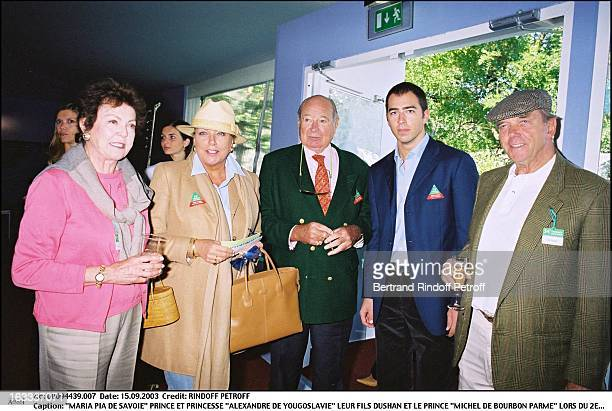 Maria Pia De Savoie Prince and princess Alexandre De Yougoslavie their son Dushan and prince Michel De Bourbon Parme during the second day of the...