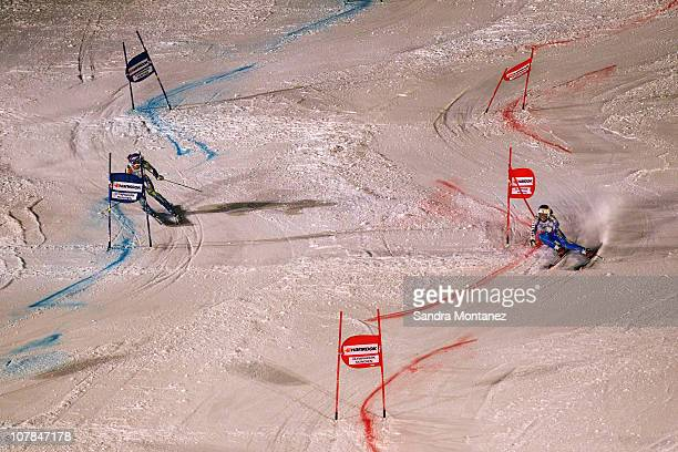 Maria PietelaeHolmer of Sweden and Tina Maze of Slovenia compete in the final during the Parallel Slalom of the FIS Skiing World Cup at the Olympic...
