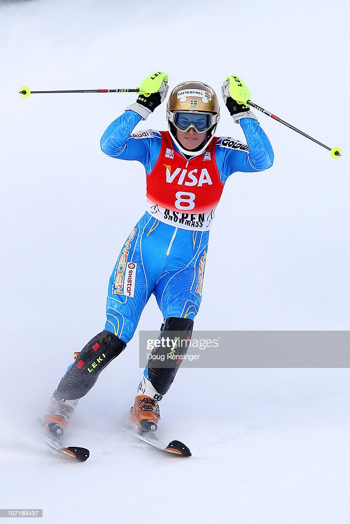 Maria Pietilae-Holmner of Sweden celebrates after crossing the finish line to win the Slalom during the Audi FIS Women's World Cup Aspen Winternational on November 28, 2010 in Aspen, Colorado.