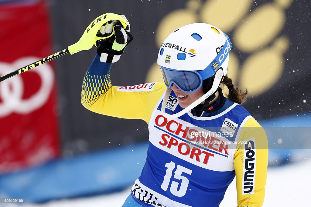 Maria Pietilae-holmner of Sweden celebrates during the Audi FIS Alpine Ski World Cup Women's Slalom on November 27, 2016 in Killington, Vermont.
