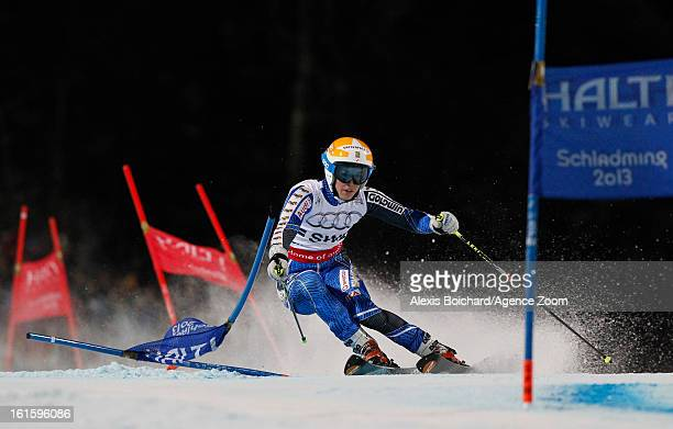 Maria PietilaeHolmner of Sweden competes during the Audi FIS Alpine Ski World Championships Nation's Team Event on February 12 2013 in Schladming...