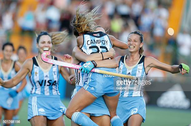 Maria Pilar Campoy of Argentina and teammates celebrate their team's second goal during a final match between Argentina and New Zealand as part of...