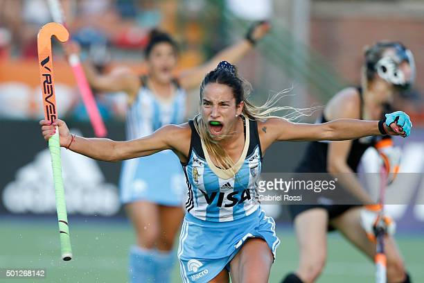 Maria Pilar Campoy of Argentina celebrates after scoring the second goal of her team during a final match between Argentina and New Zealand as part...