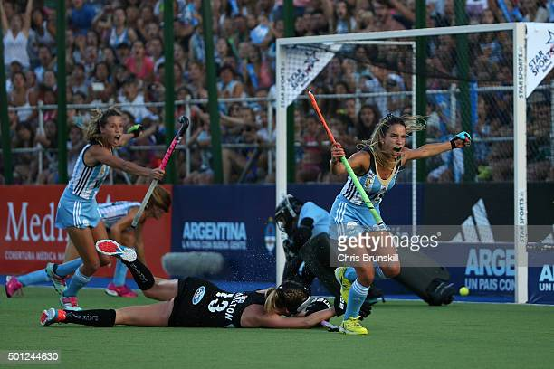 Maria Pilar Compoy of Argentina celebrates scoring her team's second goal during the final match between Argentina and New Zealand on day 9 of the...