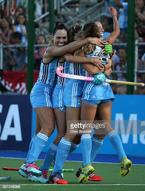 Maria Pilar Compoy of Argentina celebrates with her teammates after scoring her team's second goal during the final match between Argentina and New...