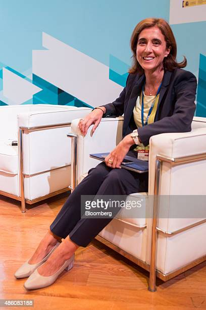 Maria Pilar Lopez Alvarez chief financial officer of Telefonica O2 Europe poses for a photograph at the opening session of the 29th...