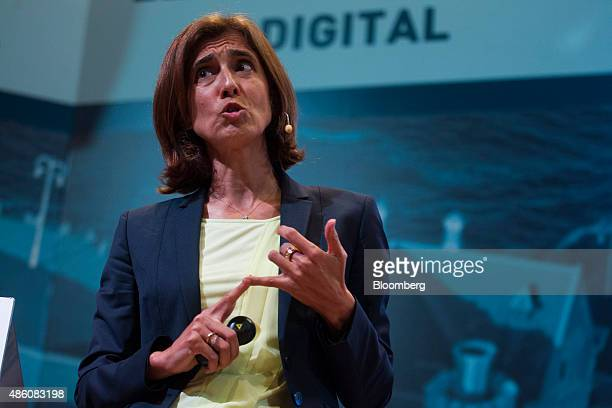Maria Pilar Lopez Alvarez chief financial officer of Telefonica O2 Europe speaks the opening session of the 29th Telecommunications and Digital...