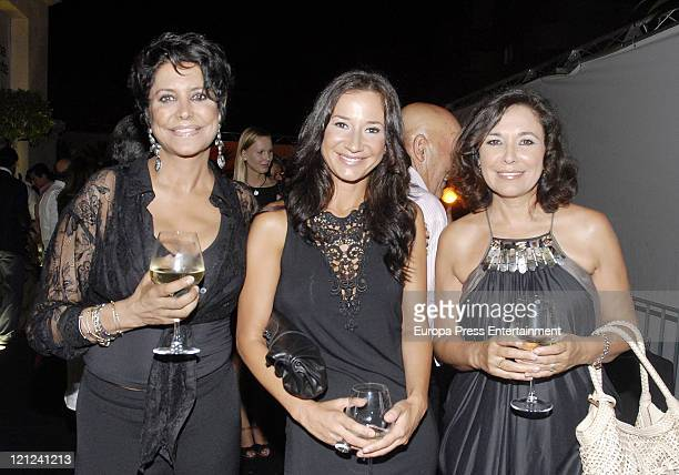 Maria Pineda Cecilia Gomez and Isabel Gemio attend the opening of a new Lorena Morlote's Hairdresser's shop on August 15 2011 in Marbella Spain