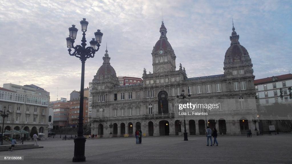 Maria Pita square and cityhall. A Coruña cityscape : Foto de stock