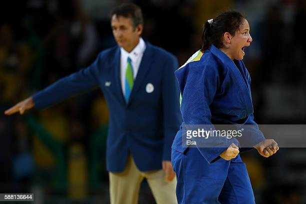 Maria Portela of Brazil reacts during a Women's 70kg bout against Assmaa Niang of Morocco on Day 5 of the Rio 2016 Olympic Games at Carioca Arena 2...