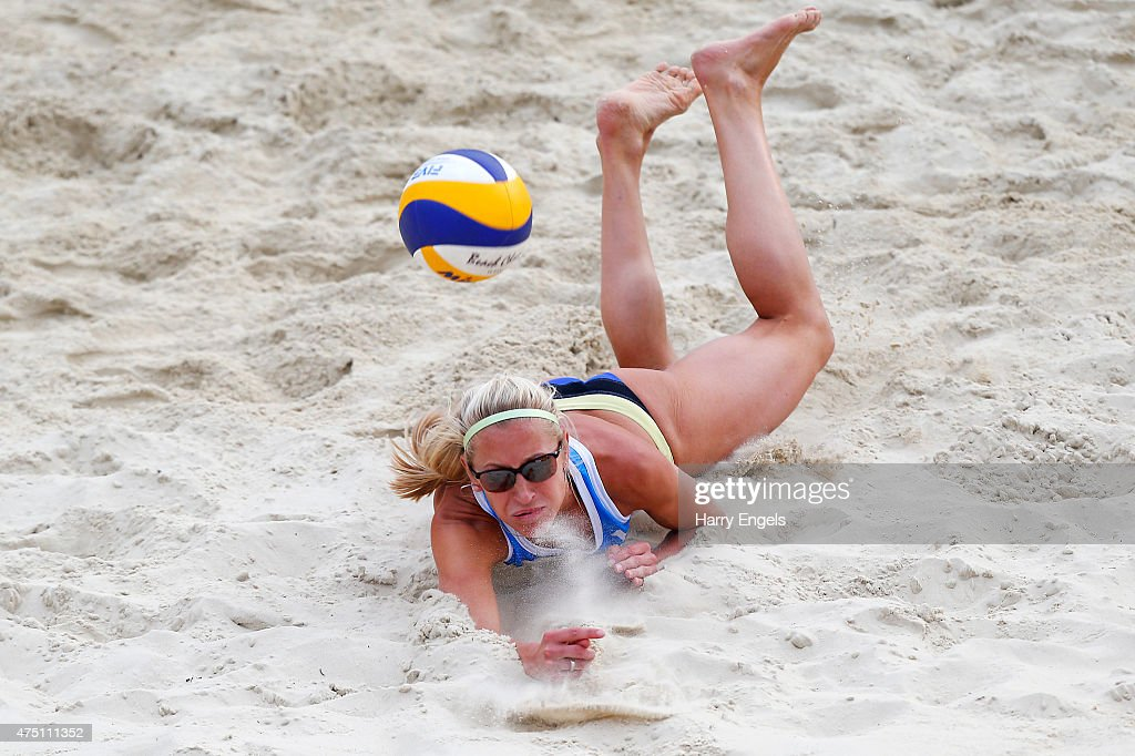 Maria Prokopeva of Russia dives for the ball during Day 2 of the FIVB Moscow Grand Slam on May 27, 2015 in Moscow, Russia.