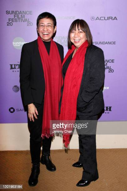 """Maria Ressa and Writer/Director Ramona S. Diaz attend the """"A Thousand Cuts"""" Premiere during the 2020 Sundance Film Festival at Egyptian Theatre on..."""
