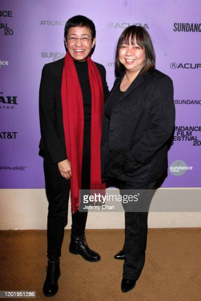 """Maria Ressa and Writer/Director Ramona S. Diaz attends the """"A Thousand Cuts"""" Premiere during the 2020 Sundance Film Festival at Egyptian Theatre on..."""