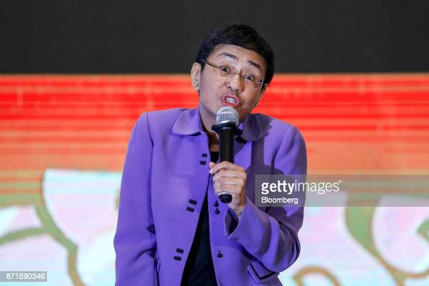 Maria Ressa chief executive officer of Rappler Inc speaks at the AsiaPacific Economic Cooperation CEO Summit in Danang Vietnam on Wednesday Nov 8...