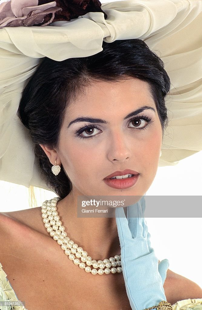 "Maria Reyes, Miss Spain 1995, on a photo shoot like ""Sissi"", 23rd November 1995, Madrid, Spain. (Photo by Gianni Ferrari/Cover/Getty Images)."