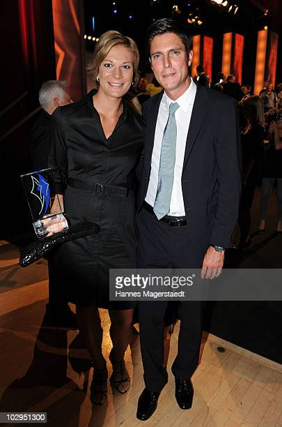 Maria Riesch and her boyfriend Marcus Hoefl attend the Bavarian Sport Award 2010 at the International Congress Center Munich on July 17 2010 in...