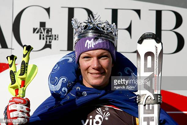 Maria Riesch of Germany celebrates on the podium after taking the 1st place during the Women's Slalom FIS World Cup event on January 4, 2009 in...